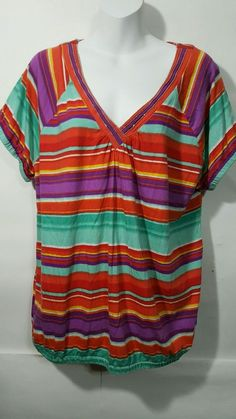 c8683a0a1062b Lane Bryant Plus 18 20 Knit Top bright multi color stripe v neck short  sleeve