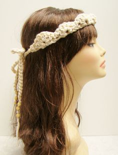 FREE SHIPPING - Tie-Up Crown Bohemian Headband with beads - Tan  White, Cream, Brown. $12.00, via Etsy.