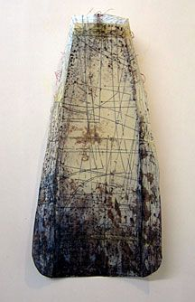 Carol Farrow - 'Pattern Series 1', vintage paper, painted, waxed & stitched with wire, 50 x 25 cms