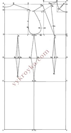 The construction of the base pattern dress with breast darts for sizes 40-48
