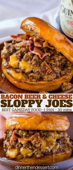 Bacon Beer and Cheese Sloppy Joes &; Dinner then Dessert Bacon Beer and Cheese Sloppy Joes &; Dinner then Dessert Essen Bacon Beer and Cheese Sloppy Joes are […] for a crowd Diner Food, Game Day Food, Beef Dishes, Bacon Beer, Bacon Food, Bacon Bacon, Bacon Meals, Beef Meals, Gastronomia