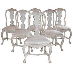 Set of Six Swedish Rococo Style Chairs