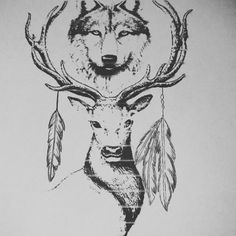 Wolf and deer tattoo sketch