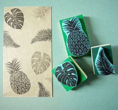 Tropical Rubber Stamps set of 3 stamps hand carved by CassaStamps