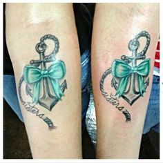 Anchor and bow tattoo