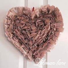 DIY: How to Make a Book Page Wreath Shaped like a Heart - Lehman Lane
