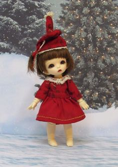 Red and gold sleeves Christmas Dress and hat for Pukipuki and Lati White doll