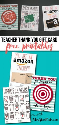 Need something special to give a teacher? Check out these FREE Teacher Thank You Gift Card Printables! Just attach a gift card and you are good to go! Perfect for Teacher Appreciation or the End of the School Year!