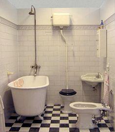 badrum the flooring 1930s Bathroom, Vintage Bathrooms, 1930s House, Vintage Laundry, Bathroom Photos, Miniature Rooms, Family Bathroom, Bathroom Toilets, Clawfoot Bathtub