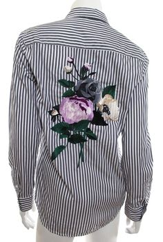 Equipment S Small Gray White Brett Stripe Button Shirt Floral Embroidered EUC https://qdiz.com/?p=3360