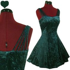 Vintage 80s 90s GREEN Crushed Velvet GRUNGE Party Dress S Prom FULL SKIRT Indie ($70.00) - Svpply