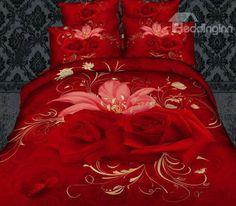 New Arrival Cotton Skin Care Flowers Print 4 Piece Wedding Bedding Sets/Comforter Sets