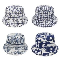 Men Unisex Cotton Geo Printed Bucket Hat Fishing Hunting Travel Outdoor Sun Cap #Goldtop #Bucket