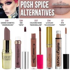 #POSHSPICE was most requested so here are the alternatives! ALSO - Pls comment below for the next color you would like dupes/alternatives for #allintheblush #makeupslaves #trendmood #vegas_nay #makeup #beauty #hudabeauty #slave2beauty #insta_makeup #norvina #glamrezy #amrezy #makeupartist #motd #mua #makeupaddict #wakeupandmakeup #jeffreestarcosmetics #lipstick #dupethat #dupe #dupes