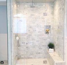 Steam shower love @Riobel_Inc #steamshower #glass #frameless #showerbench #marble - www.villagehomesinc.com