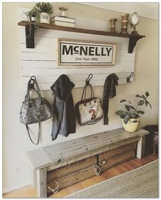i like the bench with storage bins on wheels. Make the bench deep enough though...that shelf and wall/coat hanger fits nice as well......d.