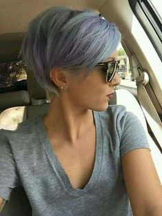 Purple and blue pixie hair cut