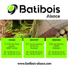 Batibois Alsace est spécialisée dans le négoce et la transformation de bois et panneaux et dans le secteur d'activité du commerce de gros de bois et de matériaux de construction.  #wood #bois #construction #rénovation #panneaux #décobois #agencement #menuiserie #usinagebois #Alsace Alsace, Commerce, Garden Tools, Carpentry, Sign, Yard Tools