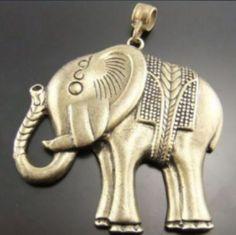 3PCS Bronze Style Alloy Charm Big Heavy Quality Elephant Necklace Pendants