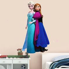 Elsa Anna 3D Frozen Wall Sticker Removable Girls Bedroom colour Art home Mural  #OEM #ArtsCraftsMissionStyle