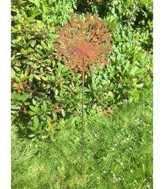 Saremo Allium 120cm Stab Gartenstecker Blume Rost Deko Edel Edelrost    2 Flowerpower