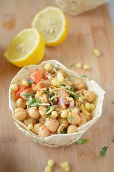 Papad Katori Chaat- Microwaved papad filled with chickpeas, onions, tomatoes.....