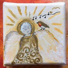 Robin Bird, Robins, Singing, Angels, Canvas, Vintage, Etsy, Art, Tela