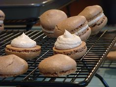 Chef Joanne Chang's Cocoa Macarons With Espresso Buttercream recipe. Flour Bakery, Bakery Cafe, Different Recipes, Other Recipes, Macaroons, Macarons Easy, No Bake Cookies, Baking Cookies, Buttercream Recipe