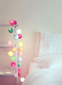 Cable and cotton fairy lights Cable And Cotton Lights, Cotton Ball Lights, Home Bedroom, Girls Bedroom, Bedroom Decor, Bedrooms, Interior Inspiration, Room Inspiration, Deco Kids