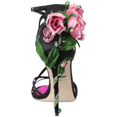 Dolce & Gabbana Women 105mm Keira Rose Satin Sandals (5.785 BRL) ❤ liked on Polyvore featuring shoes, sandals, heels, обувь, dolce gabbana sandals, swarovski crystal shoes, rosette shoes, heeled sandals and cushioned sandals