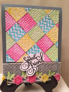 Vishu's Corner: Quilted Card with Ann Butler Stamps