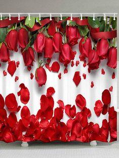 Red High Heels Lipstick Rose Shower Curtain Hooks Bathroom Mat Waterproof