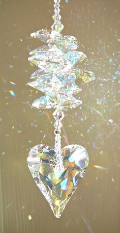 """Swarovski Wild Heart Crystal Suncatcher – AB Heart with Swarovski Octagons """"THERESA"""" Rainbow Maker – Available in 5 Colors Hanging Crystals, Swarovski Crystal Beads, Heart Art, Wild Hearts, Bead Crafts, Suncatchers, Wind Chimes, Diamond, Gifts"""