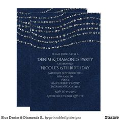 Shop Blue Denim & Diamonds Sparkle Bling Birthday Party Invitation created by printabledigidesigns. Bling Invitations, Bachelorette Party Invitations, Engagement Party Invitations, Birthday Party Invitations, Engagement Parties, Engagement Ideas, Zazzle Invitations, Shower Invitations, Blue Birthday Parties