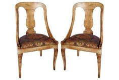 Damask Upholstered Gilt Chairs, Pair