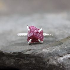 Raw Ruby Ring -  Rough Uncut Red Ruby - Sterling Silver Solitaire  -  Ruby Engagement Ring - July Birthstone Ring - 40th Anniversary Ring on Etsy, $225.00