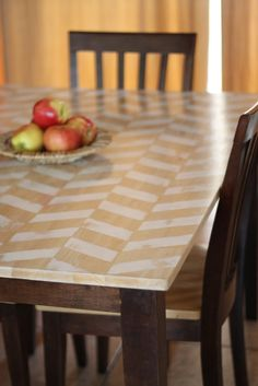 An easier way to do the herringbone table I love would be this tutorial, but instead of white, I can stain the wood with different stains (light and dark) in a herringbone pattern.