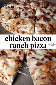 Bacon Ranch Pizza Homemade chicken bacon ranch pizza is the bomb!Homemade chicken bacon ranch pizza is the bomb! Chicken Bacon Ranch Pizza, Bacon Pizza, Pizza Ranch, Pizza Pizza, Pizza Dough, Chicken Alfredo Pizza, Pizza Rolls, Ranch Chicken, Cool Pizza