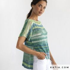 pattern knit crochet woman sweater spring summer katia 8029 488 w Crochet Woman, Knit Crochet, Winter Kids, Fall Winter, Spring Tops, Spring Summer, Techniques Couture, Hooded Scarf, Comfortable Outfits