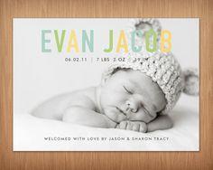benutzerdefinierte Baby Junge oder Mädchen Foto Geburtsanzeige - Pastell chic II