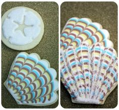 beach sea shell decorated cookies