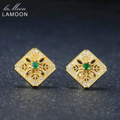 6a6627255ef2 LAMOON Exquisite Hollow Natural Gemstone Emerald 925 sterling-silver-jewelry  Stud Earring For Women