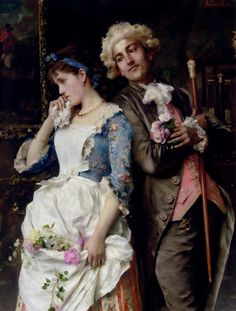 """Federico Andreotti - - Pintor Italiano - """"The Persistent Suitor"""". Alex Grey, Italian Painters, Italian Artist, Romantic Paintings, Beautiful Paintings, Valentines Day History, Victorian Paintings, Art Of Love, Romantic Scenes"""