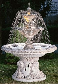 This popular Italian water fountain is made from reconstituted marble and cement. Large Outdoor Fountains, Yard Water Fountains, Water Fountain Design, Small Fountains, Garden Fountains, Garden Statues, Landscaping Retaining Walls, Backyard Landscaping, Interior Exterior