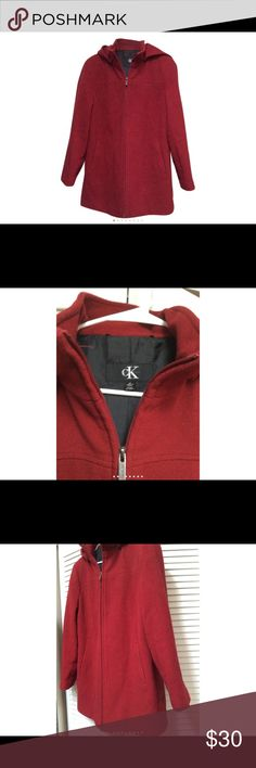 Calvin Klein Red Hooded Wool/ Cashmere Coat Coat has a small amount of cashmere and wool to make this zipper cute and warm carcoat enjoy Calvin Klein Jackets & Coats Pea Coats