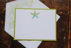 Starfish Handmade Notecards with Matching by BeeInspiredHandmade