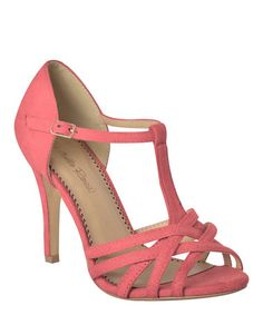 Another great find on #zulily! Coral Peep-Toe T-Strap Pump #zulilyfinds
