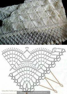 Beautiful crochet lace triangular shawl ~ fans design ~ Solomon's knot border not charted ~~ http://www.liveinternet.ru/users/4729689/