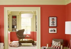 Red-Orange and Gray-Brown Room from Benjamin Moore