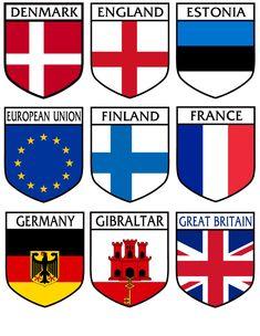 Great Britain, Finland, Denmark, Germany, Flag, Stickers, Cards, Deutsch, Science